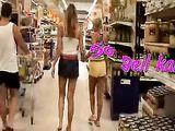Two german women fun in public store