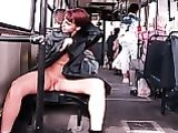 Russian Wife Showing Nude in Public Tram Photo