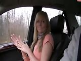 Riding Girlfriend in Car in the Woods for a Quick Fucking